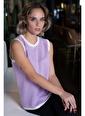 Silk and Cashmere Saf Kaşmir Çift Renk Bordürlü Kolsuz Ahs Kazak Beyaz